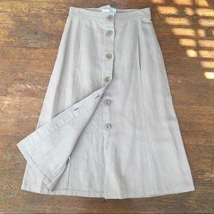 MaxMara vintage button down khaki maxi skirt